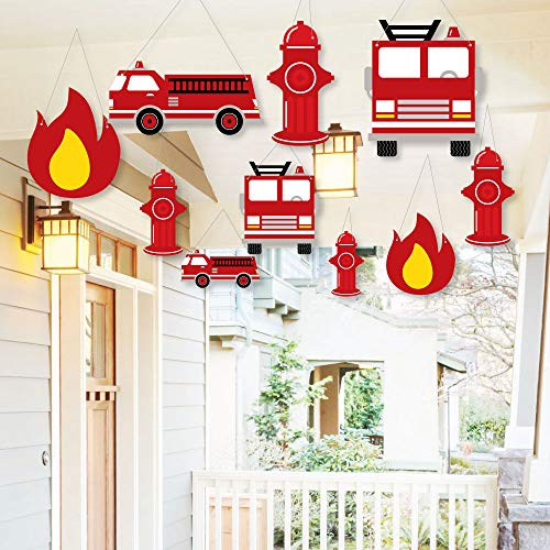 - Hanging Fired Up Fire Truck - Outdoor Firefighter Firetruck Baby Shower or Birthday Party Hanging Porch and Tree Yard Decorations - 10 Pieces