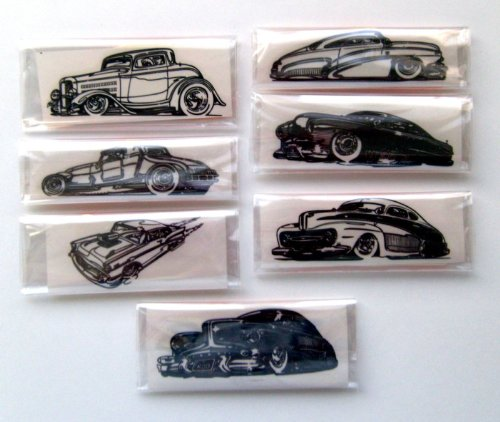 "Clear stamp pack (2"" x 4"") FLONZ clingy acrylic stamp // Classic Retro Cars American Fifties Sketch"