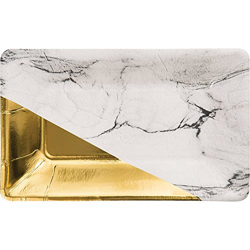 Elise 329883 Foil Rectangular Appetizer Paper Plates Marble