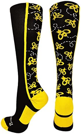 Crazy Bumble Bee Over the Calf Socks