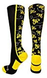 MadSportsStuff Crazy Socks with Bumble Bees Over the Calf (Black/Gold, Medium)