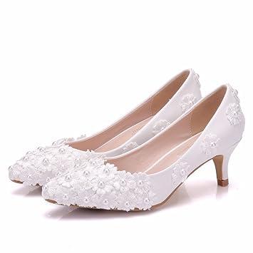 SL-Damen Hochzeit Brautschuhe/Lace Satin Schnalle Pumps/Satin Damen Brautschuhe/Lace Spitze Flache BrautschuheFein...