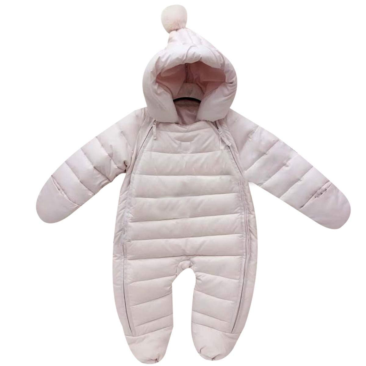 Bebone Newborn Baby Hooded Winter Puffer Snowsuit with Shoes and Gloves (Pink,3-6M) by Bebone
