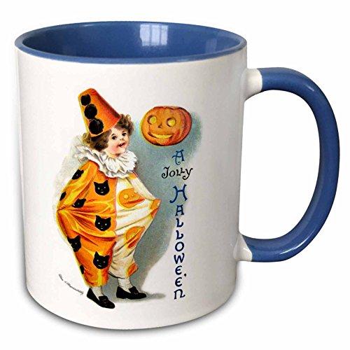 3dRose VintageChest - Halloween - Clapsaddle - Jolly Halloween Harlequin - 15oz Two-Tone Blue Mug (mug_159934_11)