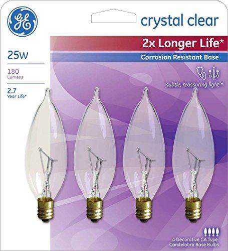 GE 25-Watt Incandescent CA10 Bent Tip Candelabra Base Double Life Light Bulb (4-Pack)