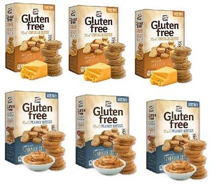Lance Lance Gluten Free Peanut Butter Bite Sized Sandwich Snack Crackers 5 Oz Box & Cheddar Bite Sized Sandwich Snack Crackers 5 Oz Box [6 Pack]