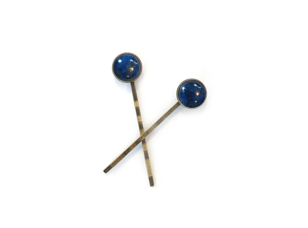 Lapis Lazuli Gemstone Hair Clips - Set of two high quality bronze bezel bobby pins - modern minimal eco style