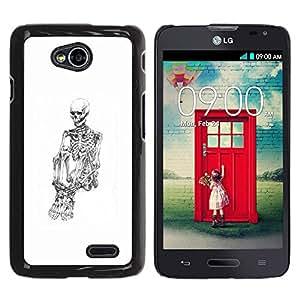 GOODTHINGS Funda Imagen Diseño Carcasa Tapa Trasera Negro Cover Skin Case para LG Optimus L70 / LS620 / D325 / MS323 - blanco esqueleto cráneo deprimido negro