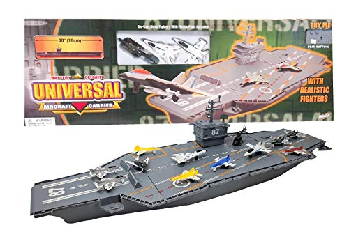 Hunson 30 Inch Aircraft Carrier with Sound Effects and 12 Fighter - Jets Aircraft Carrier