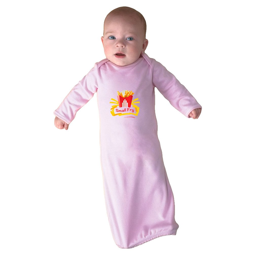 Cute Rascals Small Bag Of French Fries Small Fry Infant Baby Combed Ring-Spun Cotton Sleeping Gown - Soft Pink, Gown & Hat Set by Cute Rascals