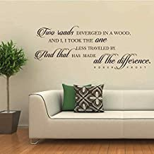 "BATTOO Two Roads Diverged Vinyl Wall Lettering - Robert Frost Vinyl Wall Decals Inspirational Decal Quote(Black, 8.5"" h x22 w)"