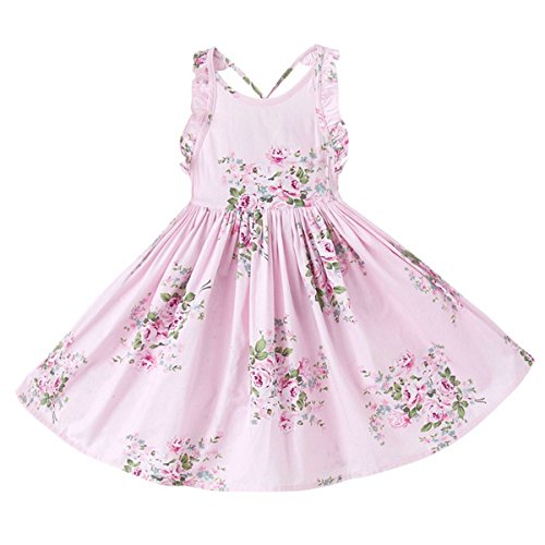 May zhang Little/Big Girls' Dress Sleeveless Cotton Dress,Girls Countryside Overalls Flower Print for Summer (Pink, 3T) by May zhang