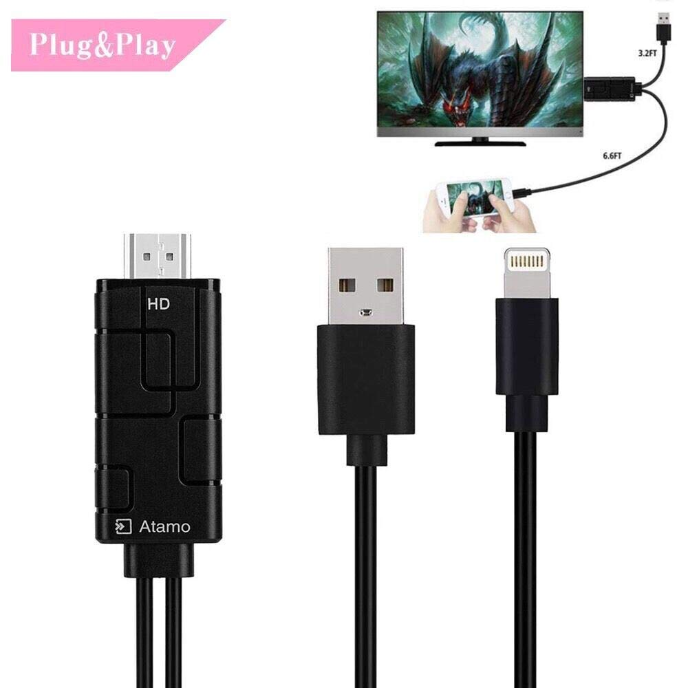 Compatible with iPad iPhone to TV HDMI Adapter,1080P High Resolution HDMI Adapter Cable,Support 1080P HDTV Compatible with iPhone Xs X 8 7 6 Plus, iPad, iPod to TV Projector Monitor by Atamo