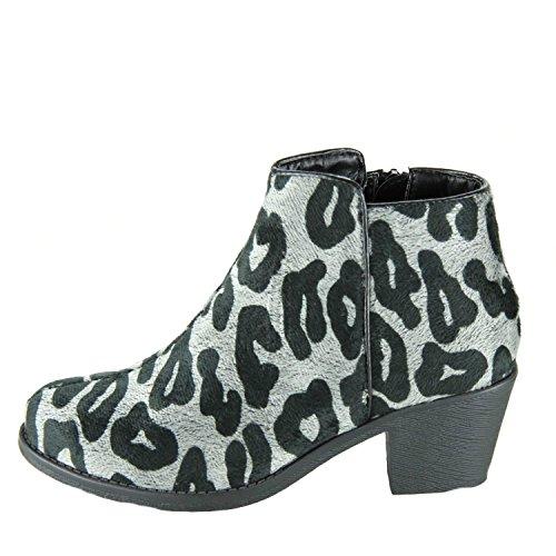 DOOBALLO Womens Leah Faux Fur Leopard Print Ankle Boots Bootie Black 2dG1sLGsCe
