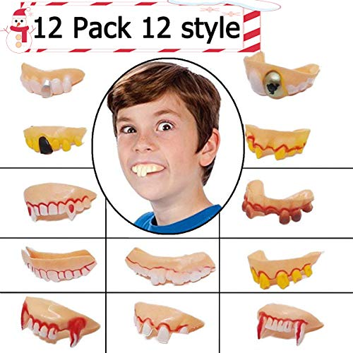 Halloween Decoration Clearance Fake Teeth Toy for Kids Funny and Ugly False Teeth Cosplay Props Costume Vampire Dentures Teeth for Party Favors Christmas Decoration Funny Gag Gift Jokes 12 Pack -
