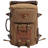 KAUKKO Outdoor Travel Men Backpack, Hiking Camping Canvas Rucksack (1Khaki)