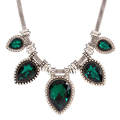Green Acrylic Cut Tear Drop Bead Chunky Black Chain Fashion Lady Collar Necklace