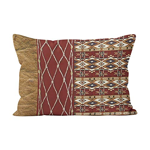 Suklly Pretty Western Brown on Brown Leather Hidden Zipper Home Decorative Rectangle Throw Pillow Cover Cushion Case 16x24 Inch One Side Design Printed Pillowcase