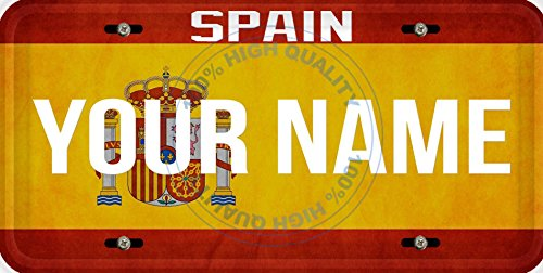 Personalized Custom Name License Spain Flag Car Vehicle License Plate Auto Tag
