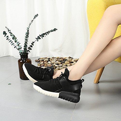 Que Mujeres Los Inferior de Corriendo Zapatos Gruesa Zapatos Estudiante Tela Encaje la la Los negro EUR34 Vuelan Deportes Las de Del 5 de Parte Casuales pzqw48nxf