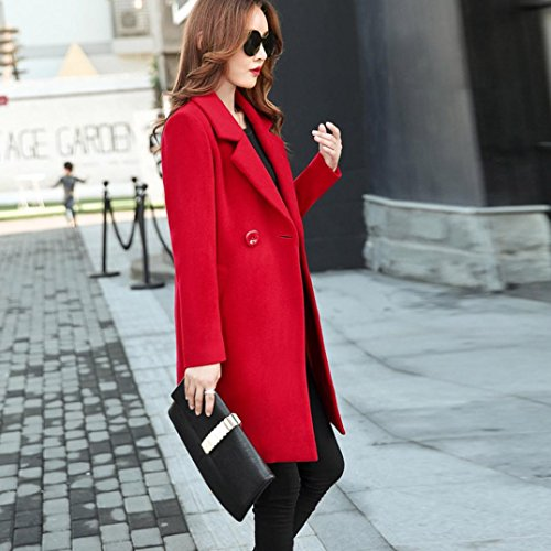 Turn Cashmere Tianya Collar Button Clothes Slim Jacket Coat Outwear Red Cardigan down Like Thicker Overcoat Parka Women Fit RHRwUnrq5I