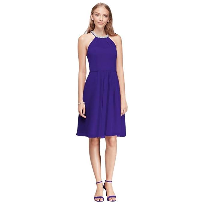 d9429e4428b5 Short Chiffon Bridesmaid Dress with Beaded Illusion Neckline Style W11082  at Amazon Women's Clothing store: