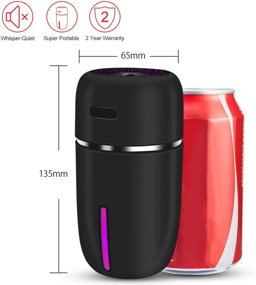 BPLIVES 200 ml Mini umidificatore USB Whisper Silenzioso con 7 Colori di Luce e spegnimento Automatico Senza Acqua Nero Umidificatore a Nebbia Fredda