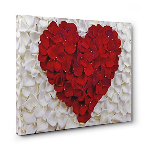 White with Red Roses Teen Room Décor HEARTS CANVAS Wall Art