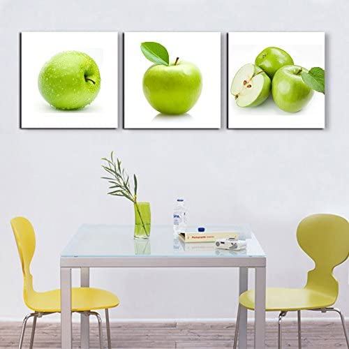 Groups of Green Apples Painting on Canvas 3 Panel Wall Art Contemporary Pictures Fruits Design Elegant Life Prints Framed Ready to Hang-Modern Artwork for Kitchen Dining Home Decoration 72 Wx24 H