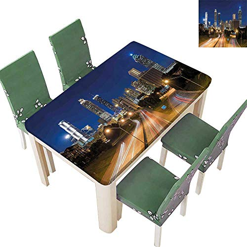 SpillProof Tablecloth of Atlanta Skyline Twilight with Highway Buildings Skyscrapers Blurred Motion for Picnic,Outdoor or Indoor 54 x 72 Inch (Elastic Edge)