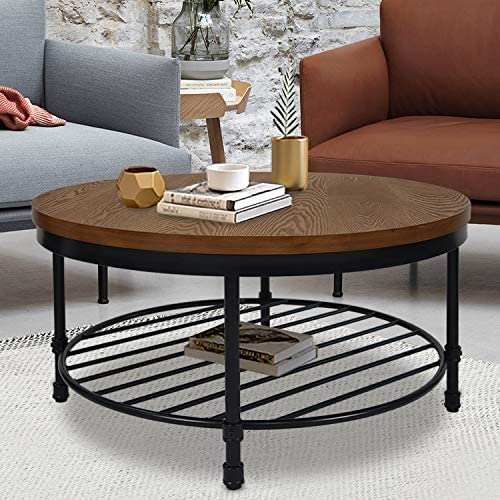 Round Coffee Table, Rustic Wood Surface Top Sturdy Metal Legs Industrial Sofa Table for Living Room Natural End Table Modern Design Home Furniture with Storage Open Shelf Brown