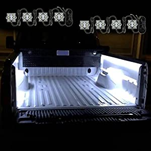 Zento Deals 8 Pcs of Ultra White Bright LED Lighting Bed Truck Universal