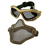 Geoot Airsoft War Game Half Face Guard Mesh Mask Protector Goggles (Brown)