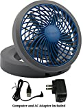 """PC Hardware : O2COOL 5"""" Portable USB or Electric Fan, Blue/Gray"""