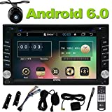 6.2 Inch Universal Quad Core 2 Din Android 6.0 Marshmallow Car GPS Stereo Radio HD Capacitive Touch Screen GPS Navigation DVD CD Player WiFi Bluetooth Mirror Link with Backup Camera