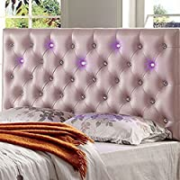 Aldebaran Queen Full Size Headboard With Led Lighting Pink