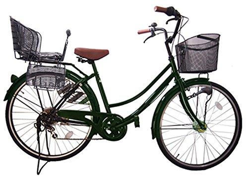 Lupinusルピナス 自転車 26インチ LP-266UA-KNR-B 軽快車 シマノ外装6段ギア オートライト 後子乗せブラック B073LXFJ3R グリーン グリーン