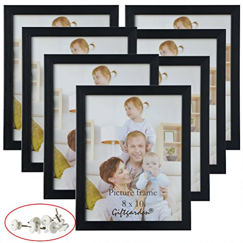 Giftgarden 8×10 Picture Frame Multi Photo Frames Set Wall or Tabletop Display, Black, 7 Pack