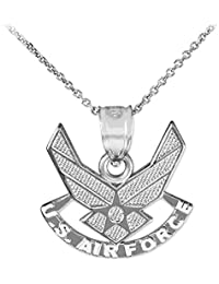 US Air Force Wings Sterling Silver Pendant Necklace