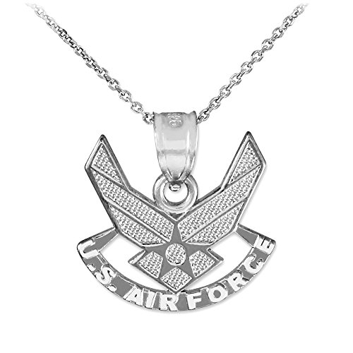 10k White Gold Medal-Style Wings Charm US Air Force Pendant Necklace, 18