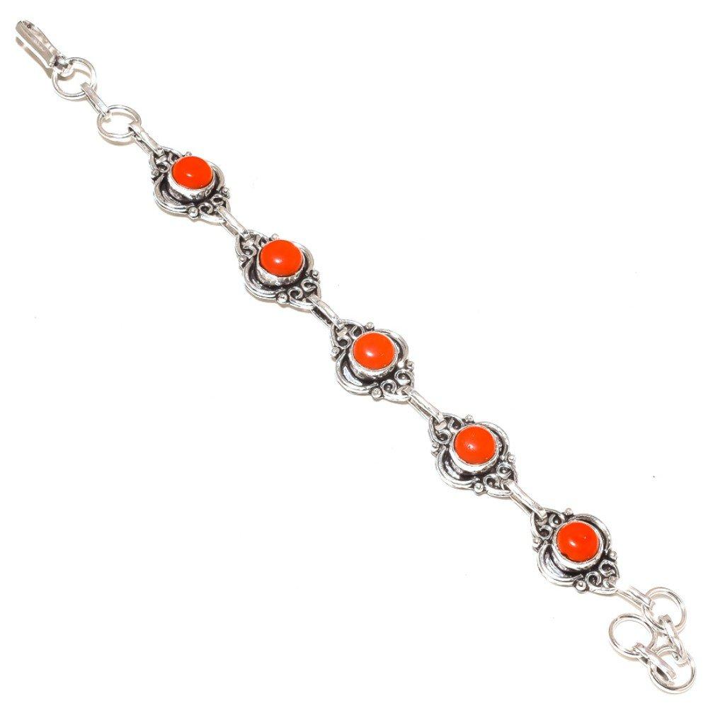 Top On Trending Red Coral Sterling Silver Overlay 15 Grams Bracelet 7-9 Long