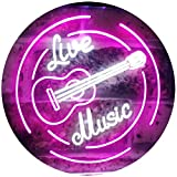 AdvpPro 2C Live Music Guitar Band Room Studio Dual Color LED Neon Sign White & Purple 16'' x 12'' st6s43-i2546-wp