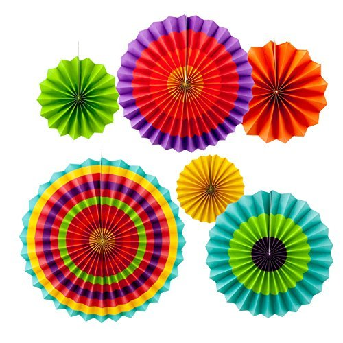 Adorox Set of 12 Vibrant Bright Colors Hanging Paper Fans Rosettes Party Decoration for Holidays 8 12 16 Various Sizes Fiesta (2 pack) …