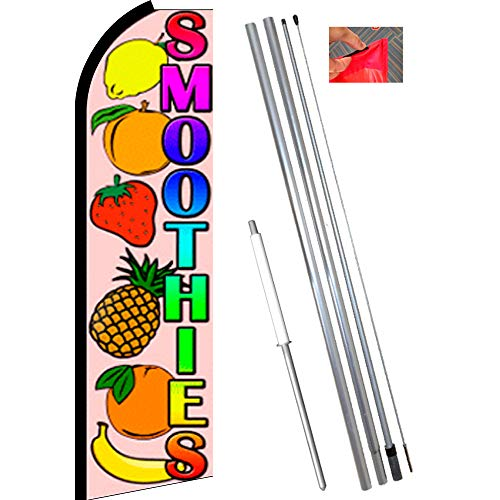 (SMOOTHIES (Fruit) Flutter Feather Flag Bundle (11.5' Tall Flag, 15' Tall Flagpole, Ground Mount Stake))