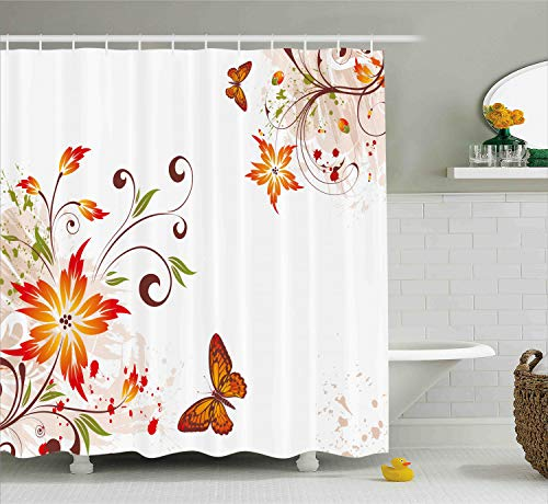 Ambesonne Floral Shower Curtain by, Spring Themed Swirled Flowers Leaves and Butterfly Nature Foliage Garden Motif, Fabric Bathroom Decor Set with Hooks, 84 Inches Extra Long, Brown Orange