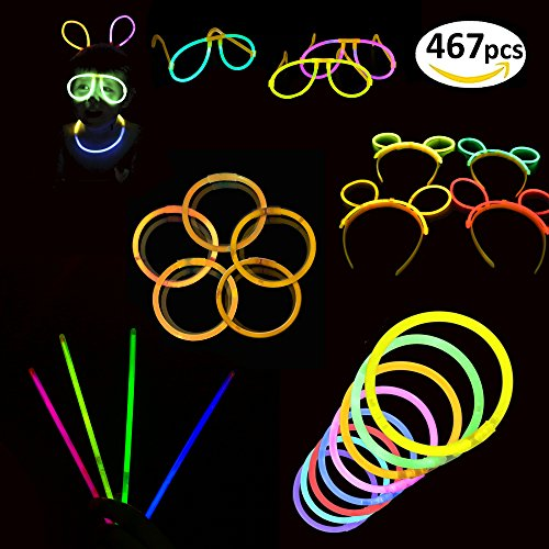 467 Pieces of Glow Sticks - Glow in the Dark Light Sticks, Glowing Stick Party Favors, Glow Necklace & Party Accessories for Raves, Photobooths, Concerts and - Sunglasses Josie