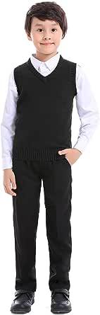 TopTie Jersey Sin Mangas de Punto para Niño, Chaleco de Algodón con Cuello en V para Invierno, Color Sólido