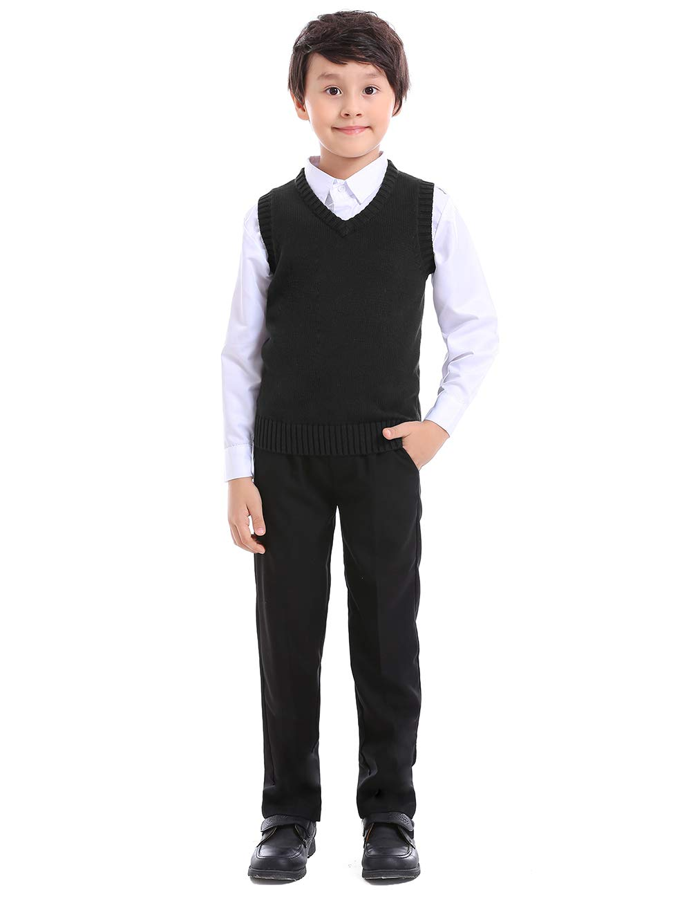 TopTie Boys V-Neck Cotton Knit Sleeveless Pullover School Uniform Sweater Vest (Navy/Black)-Black-12