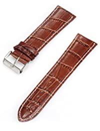 KS Official 24mm Mens Coffee Genuine Leather Wrist Watch Band Strap Watchbands Replacement with Pin WTL021