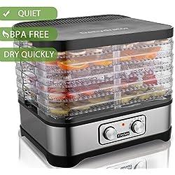 Food Dehydrator Machine, Jerky Dehydrators with Five Tray, Knob Button